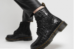 Black textured leather boots go with jeans