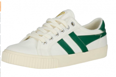White trainer with green design goes with jeans