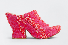 Red fabric slip on heeled sandal goes with jeans