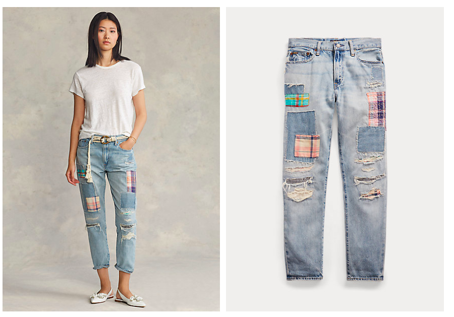 goes with patched denim jeans